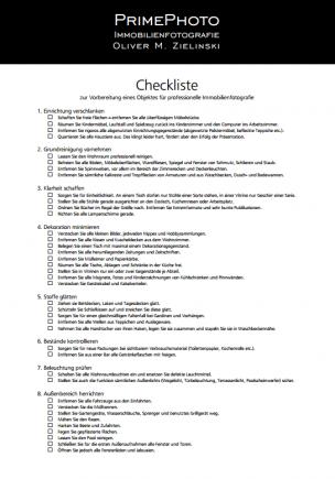 Checkliste zur Vorbereitung eines Objektes für professionelle Immobilienfotografie