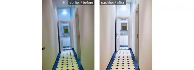 Büro-WC Belichtung, Perspektive und Farben korrigiert