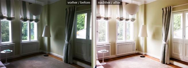 Gästezimmer Belichtung, Perspektive, Objektivverzeichnung und Farben korrigiert