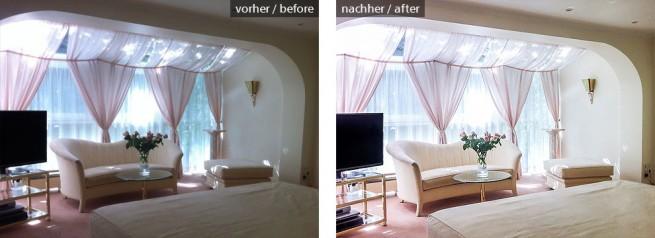 Schlafzimmer Belichtung, Perspektive und Farben korrigiert