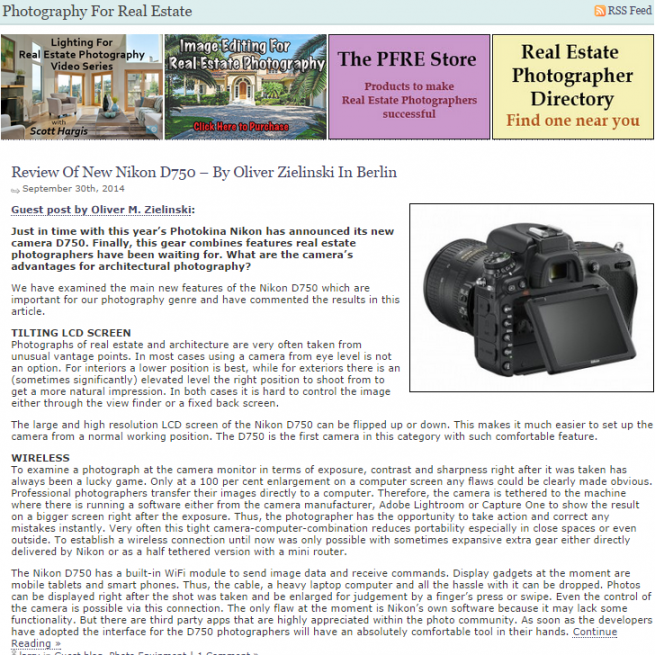 Review Of New Nikon D750 – By Oliver Zielinski In Berlin