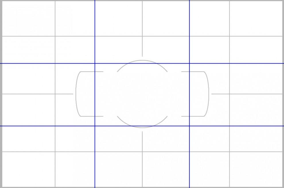 Gitternetz und Drittelregel. Legt man die Hotspots in die Ecken des gedachten mittleren Rechtecks, hat man in etwa auch den Goldenen Schnitt erreicht.