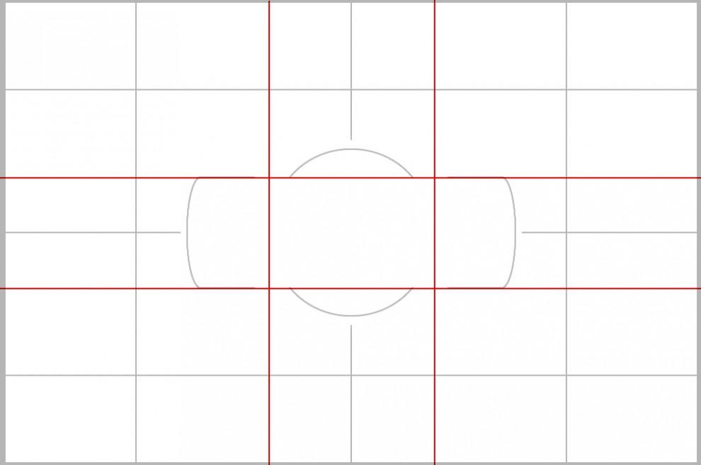 Gitternetz und Goldener Schnitt. Man kann sich ganz gut merken, wo die Linien liegen (obere und untere Kante der Messfeldbegrenzung und vertikale Außenlinie des gedachten Kreises).