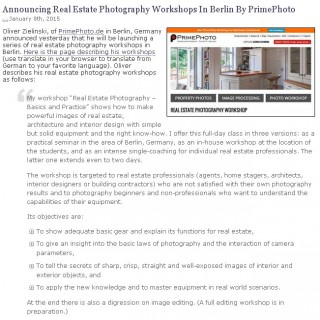 PrimePhoto Foto-Workshop for Real Estate Professionals