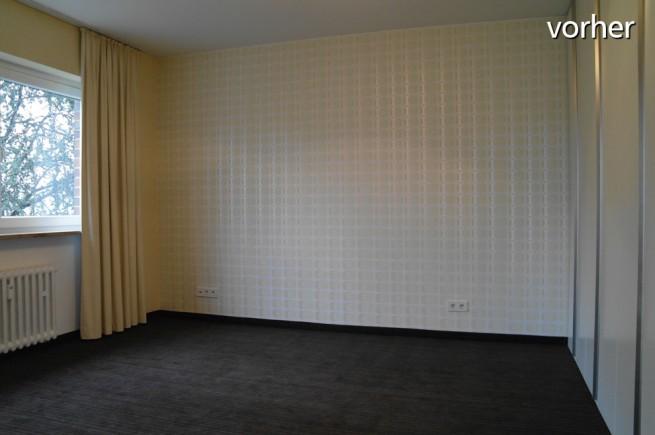 Vorher: Schlafzimmer wirkt unbenutzt und kalt (Foto: Iris Barwa)