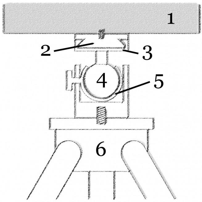 Schema eines Kugelkopfs für ein Stativ