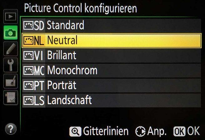 Vorgabe-Sets für Farbe, Helligkeit und Kontrast bei der Nikon D5300.