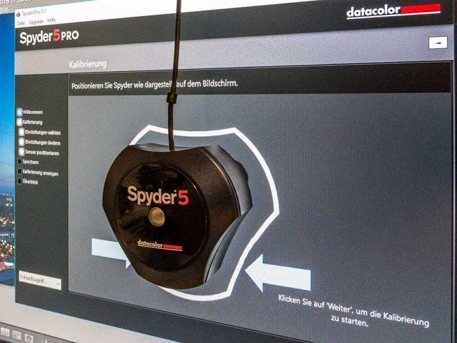 Kalibrierspinne Spyder am Bildschirm