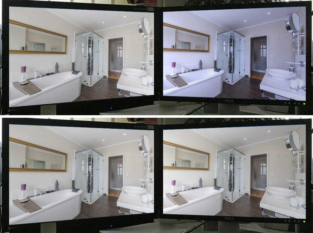 Zwei Qualitätsbildschirme mit und ohne Kalibrierung.