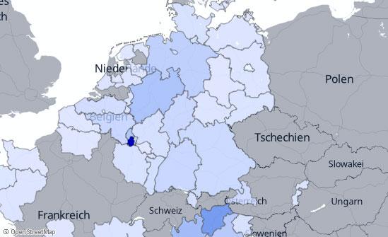 Geografische Verteilung der Reichweite