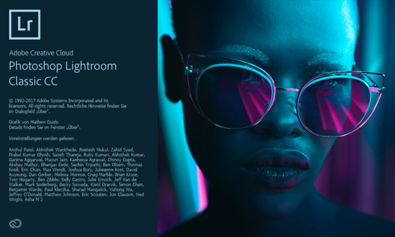 Startbildschirm des neuen Lightroom Classic CC