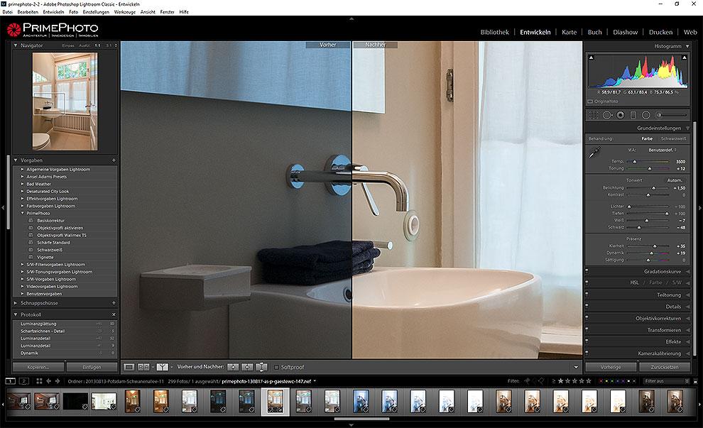 Typischer Bildschirm im Entwickeln-Modul von Lightroom Classic CC