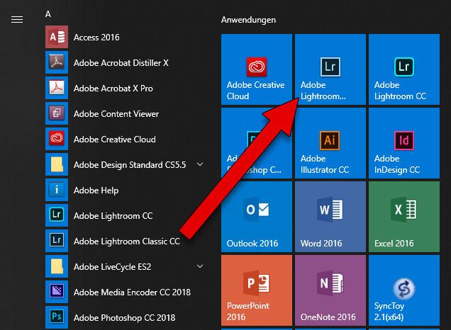Ergänzte Kachel im Startmenü von Windows 10