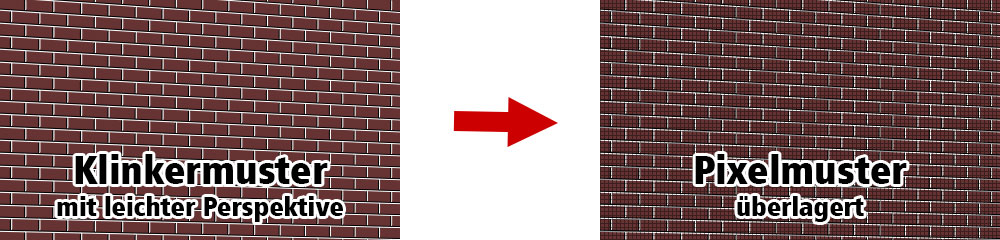 Wird das Muster der Klinkerwand (links) von einem anderen Muster überlagert, entstehen Moire-Muster.