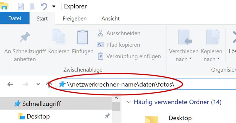 Die Adresszeile im Windows-10-Explorer ist recht unscheinbar im oberen Seitenteil untergebracht.